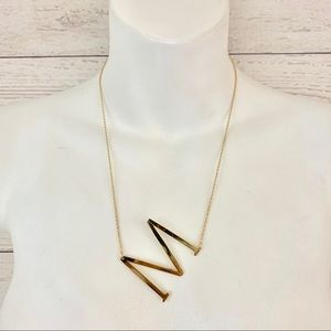 M gold initial necklace!!